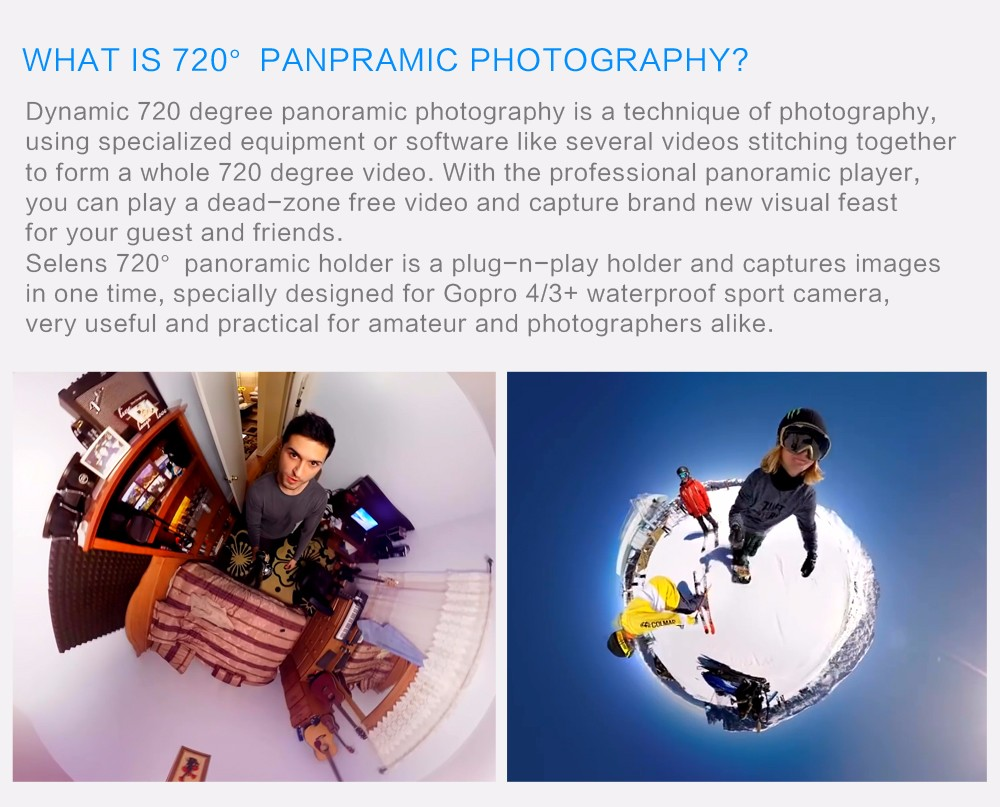 ถูก Selensดำน้ำ720พาโนรามาGoPro Omni H OlderสำหรับVRถ่ายทำxiaomi yiการกระทำกล้องsjcam sj5000 eken 3dอาร์เรย์ทรงกลมวิดีโอ