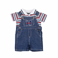 2016 Baby Striped Denim Coveralls Boy Girl Jumpsuits Summer Print Clothes Infantil Romper Newborn Next Bebes