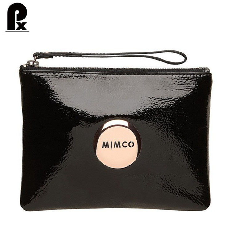2016 famous brand wallet black patent leather mimco phone case medium pouch leather women wallets men coin purse carteira cuzdan(China (Mainland))