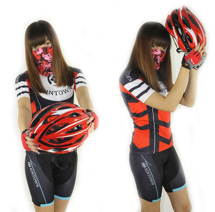 Women Bicycle Suits Short Sleeves Sports Bike Clothes Outdoors Sports Cycling Team Jersey+Shorts Size S-3XL Free Shipping(China (Mainland))