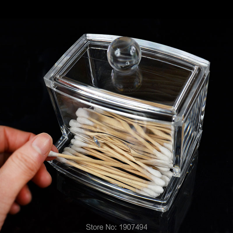 Cotton Swab Q-tip Storage Swabs Holder Box Cosmetic Makeup Case Hot slaes Clear Acrylic Free Shipping(China (Mainland))