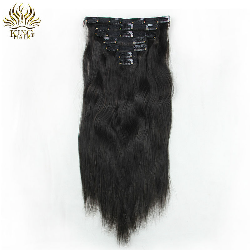 Peruvian virgin hair 100% human hair unprocessed virgin hair straight hair clip in hair extension 7 sets 100g piece