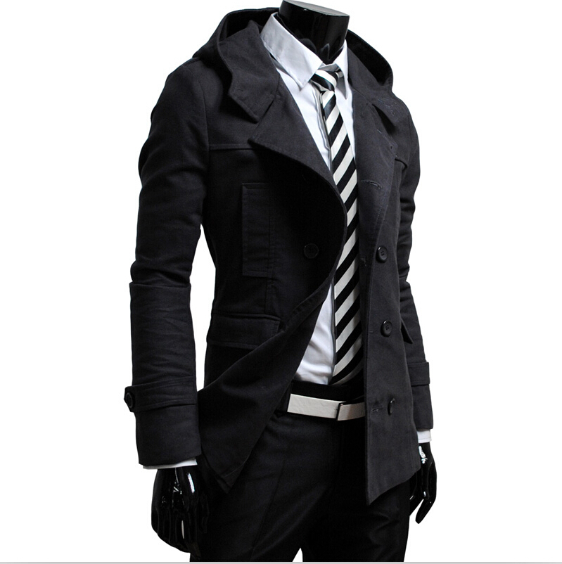 2015 Hot Autumn Winter Men s Clothes Fashion Casual Hooded Double Breasted Korean Slim Fit Jacket