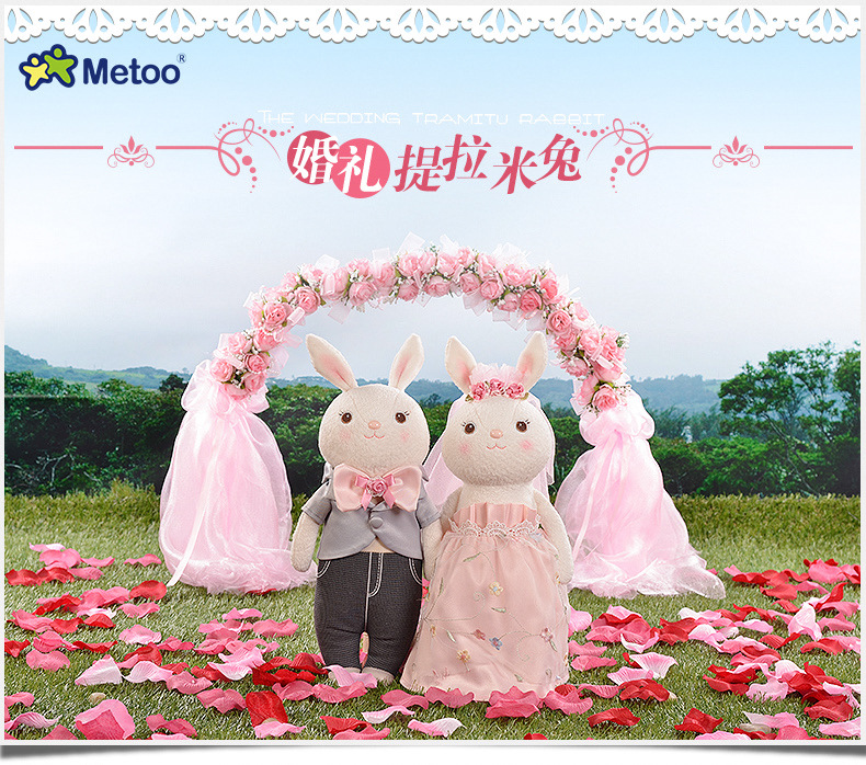 (2pcs/lot) Plush stuffe toys kid Lovely Cloth Doll wedding Metoo 38cm For Baby Gifts toy for children kid gift m160601(China (Mainland))