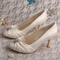 Dropshipping High Quality Women Shoes White Pumps Wedding 8CM Heel Pig Leather Lining