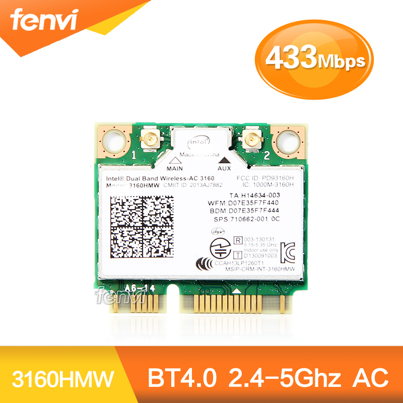 For Intel Dual Band Wireless-AC 3160 3160HMW 802.11ac 433Mbps Wifi Bluetooth 4.0 2.4G/5Ghz half Mini PCI-e Wireless card for hp(China (Mainland))