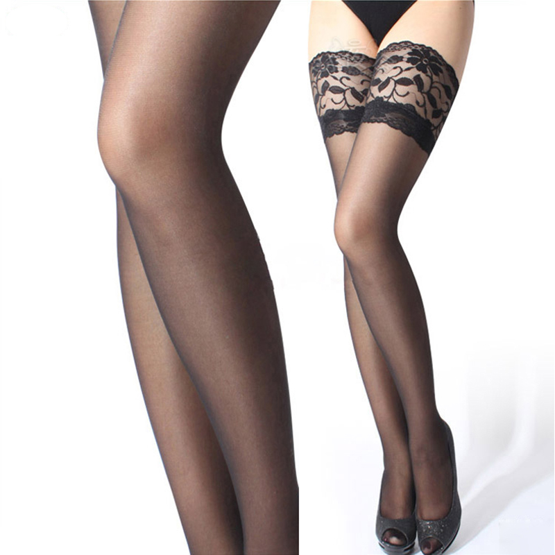 2016 Women Sexy Lingerie Stockings Fashion Summer Charming 6 Colors Female Stockings Sheer Lace Top Thigh High Lady Pantyhose 25(China (Mainland))