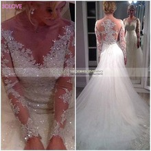Sparkly Elegant Wedding Dresses Long Sleeve 2017 Beading Bride Gown Sheer Back Applique Lace Tulle Beads Vestido De Noiva W591(China (Mainland))