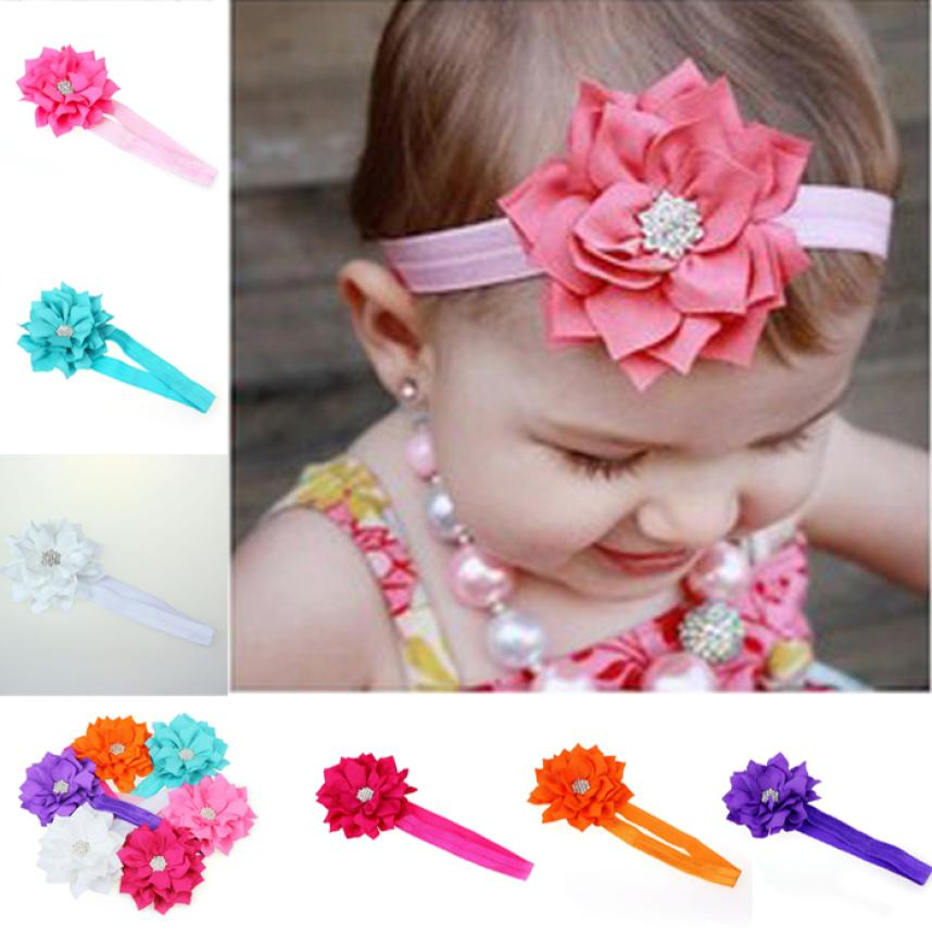 Excelent 6 Piece/ a lot Lovely Lotus Flower Hairband Crystal Babys Girls Headband Wear Bebe Girl Head Accessories Free Shipping