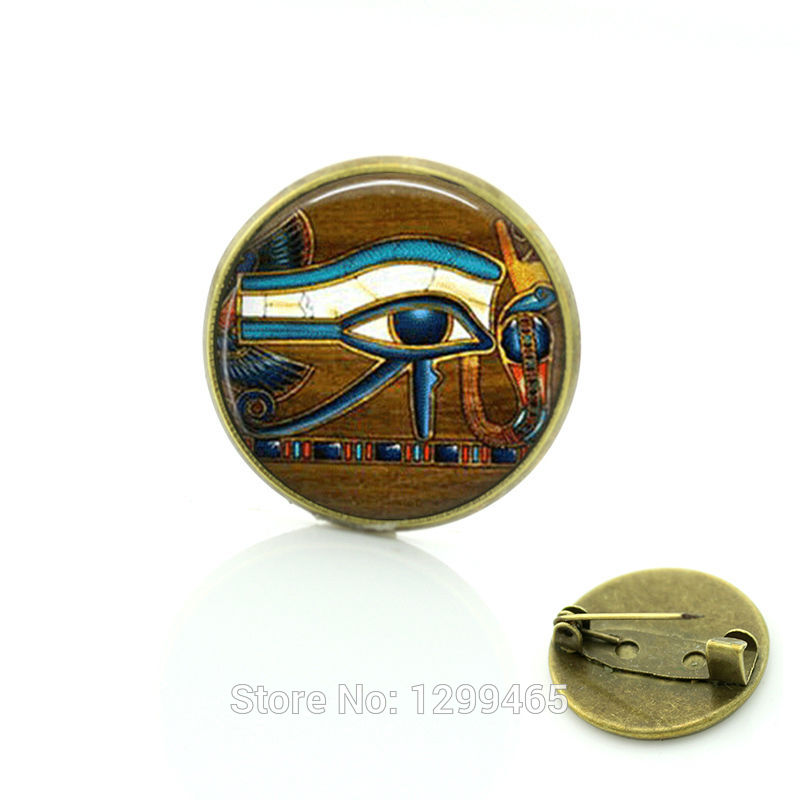 Eye of Horus jewelry Christmas gift Glass cabochon dome pin Egyptian eye Brooches pins jewelry C165(China (Mainland))