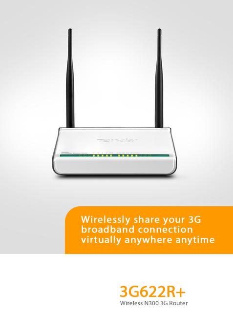 Tenda 3G622R+ English OS Wireless N150 3G Router,150Mbps 11n,1* WAN port + 4* LAN ports, 2*Detachable 5dBi antenna