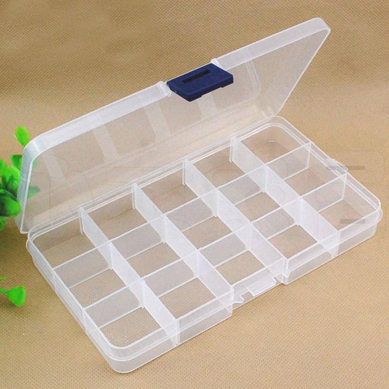 Transparent Adjustable Buckle 15 Grid plastic Pillbox Case Organizer Health Medicine Drug Jewelry storage Pill Box sn-013b(China (Mainland))