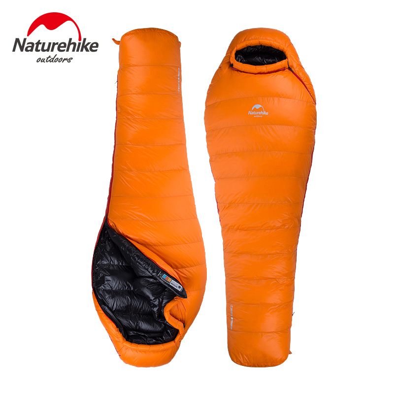 NatureHike Winter Down Mummy Type Duck Warmth Ultralight Sleeping Bag For Outdoor Camping Black Orange Hiking Waterproof Ski(China (Mainland))