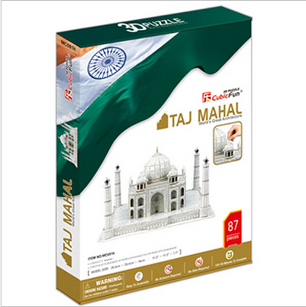 Promotion Gift Cubic Fun 3D Puzzle Toys Taj Mahal (India) Model DIY Puzzle Toys For Children's Gift(China (Mainland))