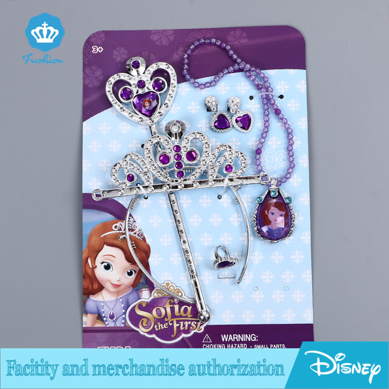 2016 NEW Sofia Princess Magic Wand +Rhinestone Crown+necklace Set Baby Girl Princess Sophia Halloween Party Crown Gift For Kids(China (Mainland))