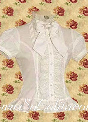 Lolita Puff Sleeves Bowtie White Cotton Blouse(China (Mainland))