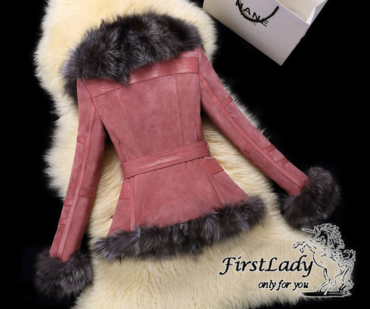 Real fox collars real leather jacket 25