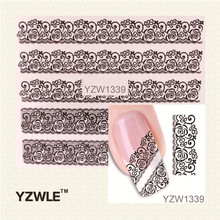 YZWLE 1 Sheet Black Lace Flowers Watermark Nail Sticker, Water Transfer Nail Decals For UV Gel Polish Nail Decoration Tools(China (Mainland))