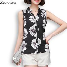 Soperwillton New 2016 Summer Chiffon Blouse Women Printed Sleeveless Blouse Black Striped Blouses Shirts Female Sexy Shirt D001
