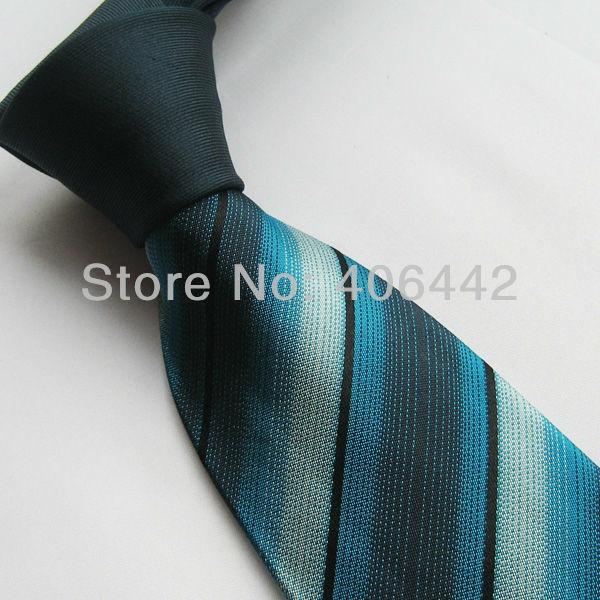 Yibei Mens ties Deep green Knot neck tie 100% Pure silk neckties Dark Turquoise Diagonal Stripes corbata TEFLON FABRIC PROTECTOR(China (Mainland))