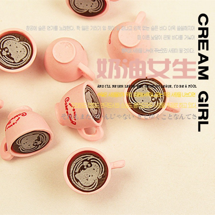 Kawaii Hello Kitty Cat 3D Pink Coffee Cups Cabochons Charms Kawaii Miniature Sweets Decoden Cell Phone Deco 50pcs()