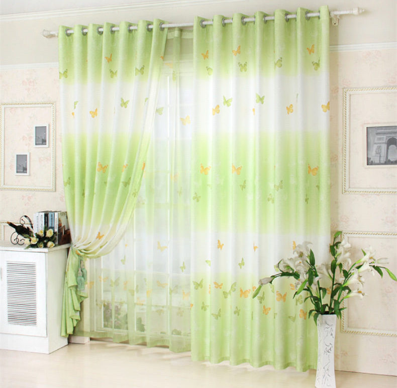Hot Pastoral Butterfly Green Curtain Bedroom Living Room Fresh Tulle Curtains
