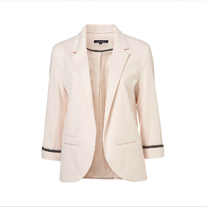 2015 new women solid candy colors three quarter rolled sleeves blazer jacket no button suit for office lady formal wear slim fit(China (Mainland))