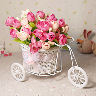 rattan trycycle vase with artificial flower silk flower set home decor table dinning room gift wedding decoration--FL140079(China (Mainland))