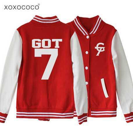 New fashipn Got7 printing G 7 sweatshirt single breasted baseball jacket kpop mark jackson jb jr got 7 hoodie freeshipping(China (Mainland))
