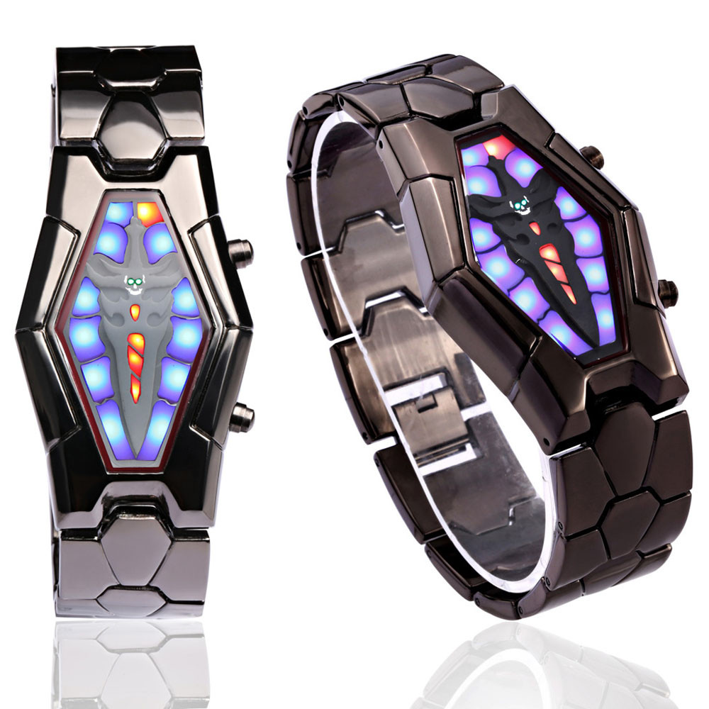 Yoner Latest Original Watch Design Lava Style Iron Samurai Black Bracelet LED Japanese Inspired Watch(China (Mainland))