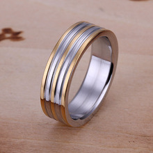 Free shipping 925 sterling silver jewelry ring fine fashion space gold line steel ring top quality wholesale and retail SMTR099