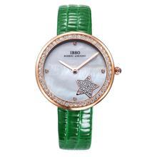 Ibso Star Print mujeres de cristal decorado ronda Dial analógico reloj de pulsera a prueba de agua banda de cuero 0650