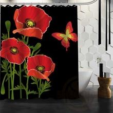 Best Nice Custom Poppies Flowers Poppy Shower Curtain Bath Curtain  Waterproof Fabric For Bathroom MORE SIZE