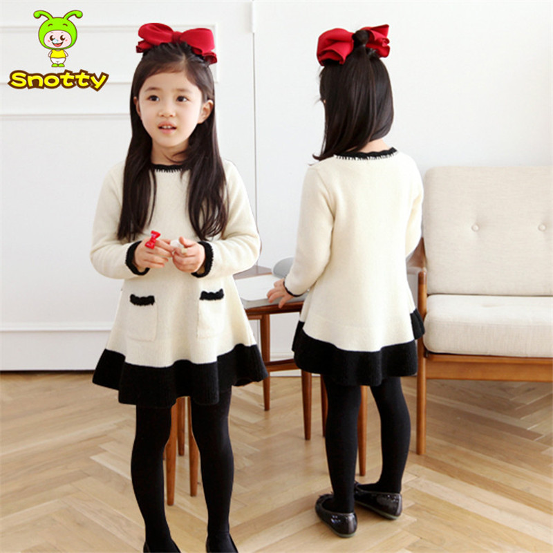 2015 Autumn Girls Beige Sweater Dress Fashion Girls Sweater for Spring Children's Clothing of 7 Years Leisure Design SKD155005(China (Mainland))