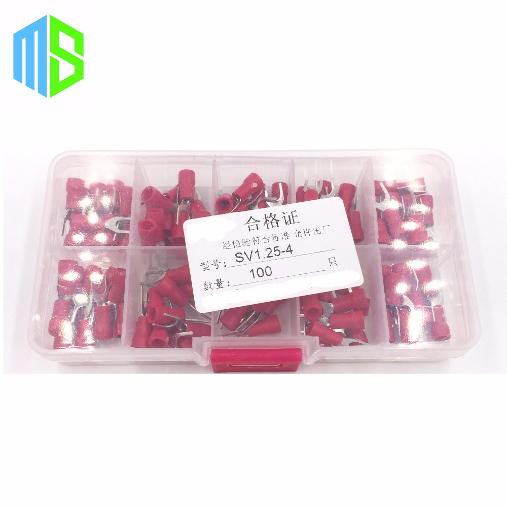 100pcs SV1.25-4 AWG 22-16 Furcate Fork Insulated Terminal Spade Wire Crimp Pressed Terminals Cable Wire Connector Electrica(China (Mainland))