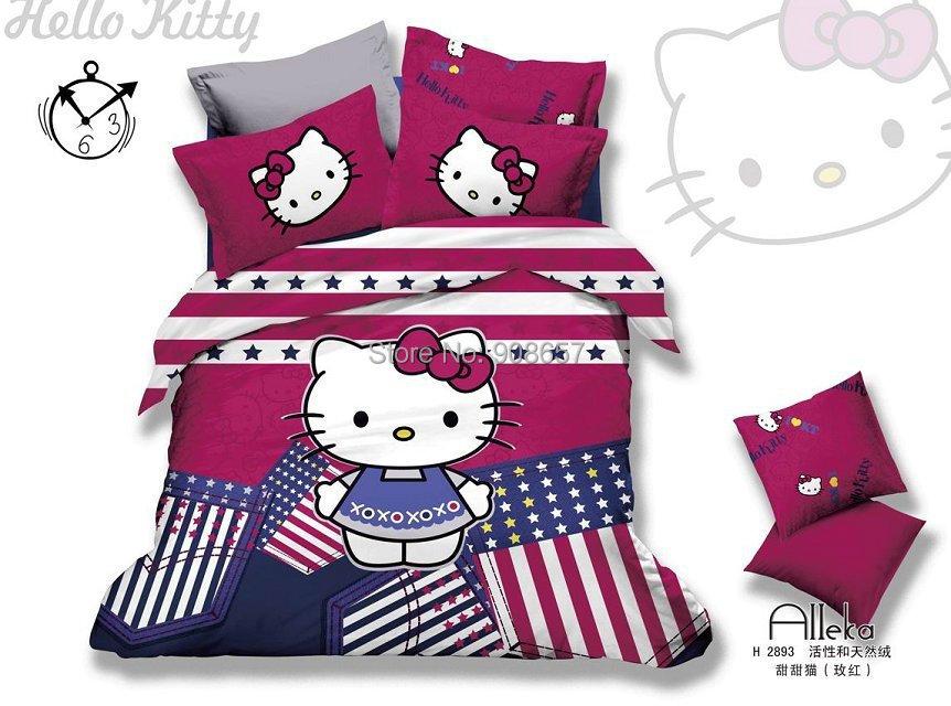 american flag hello kitty bedding set full queen king girls home decor