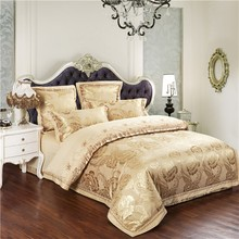 Luxury Golden yellow Damask Tribute silk bedding sets king size rose jacquard and embroidery queen bed cover set(China (Mainland))