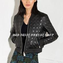 Paris Luxury Brand Designers Black Quilted Lambskin Bomber Jacket Womens Long Sleeve Plaid Embossed Sheepskin Leather Zip Jacket(China (Mainland))