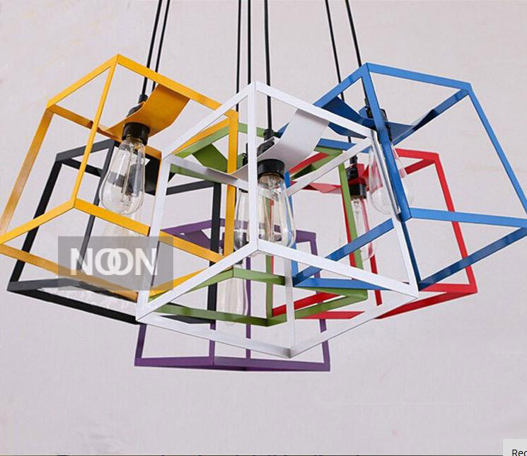 Free shipping New modern iron art chandelier Box Pendant lamp Children room lamps seven colours(China (Mainland))