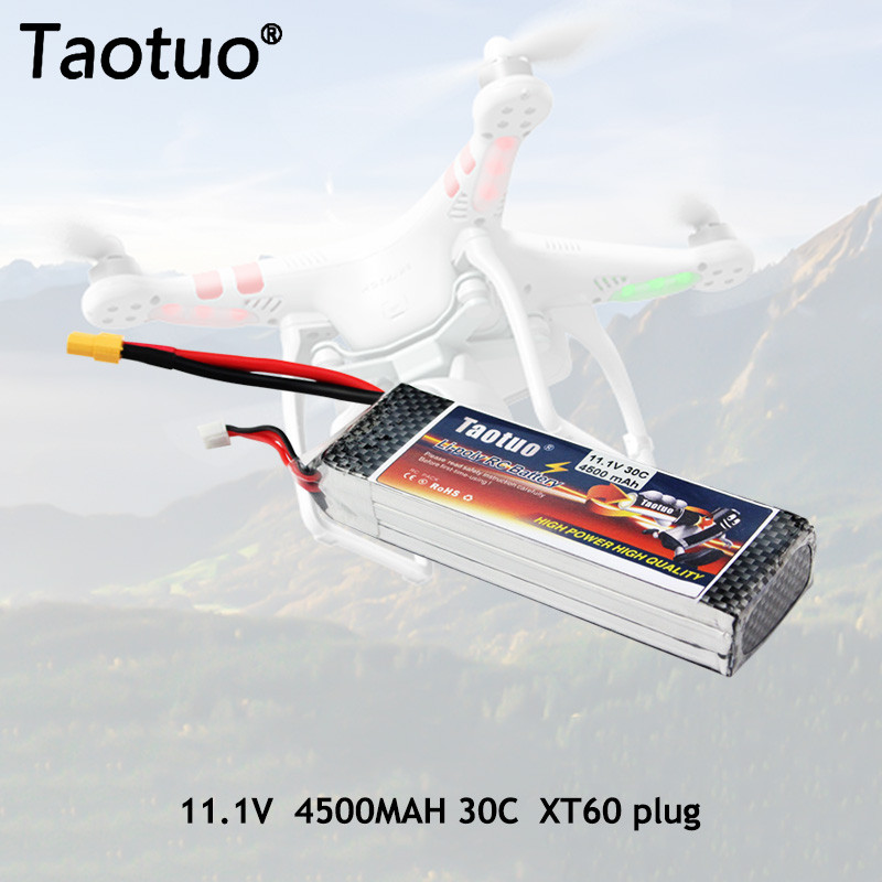 Taotuo Power Lithium Polymer Lipo Battery 11.1v 4500mah 3S 30C XT60 Plug For RC Helicopter Car Truck Boat Dron Bateria(China (Mainland))