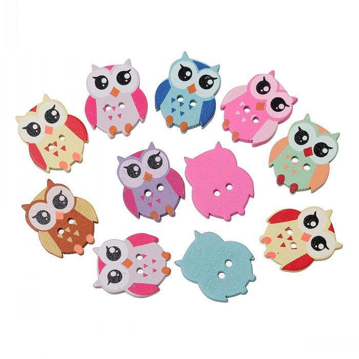 50 PCS Mixed Colors Lovely Owl Shape Two Hole Wooden Buttons 21.5mm x17.6mm For DIY Free Shipping(China (Mainland))