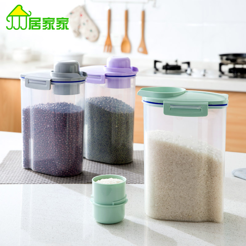 Kitchen plastic storage box sealed cans of food storage food jars Tea Canister grains rice bucket(China (Mainland))