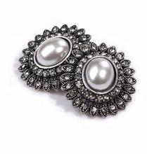 2015 Fashion Sale Charms Big Round Retro Double Pearl Rhinestones Earrings For Women Christmas Gifts Wholesale E051(China (Mainland))