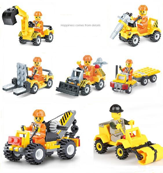 6Pcs/set City Construction Bulldozer Excavator Forklift Drill Truck Crane Mini Flatbed Truck Block Toys Compatible with Legoes(China (Mainland))
