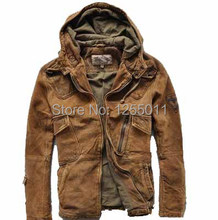 Free Shipping 2015 New Avirex Hoodie Leather Jacket Scrub Do the old Motorcycle  Windbreaker Spring Autumn Men's leather jackets(China (Mainland))