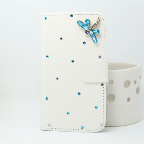 blue dragonfly (1) Bling Bowknot PU Leather Wallet Handbag Flip phone Case Cover For LG L Bello D331 D335 Cell Phone(China (Mainland))