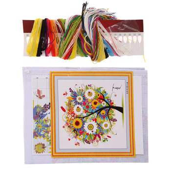 DIY Colorful Four Season Tree Counted Cross Stitch Kit Embroidery Home Decoration Free Shipping