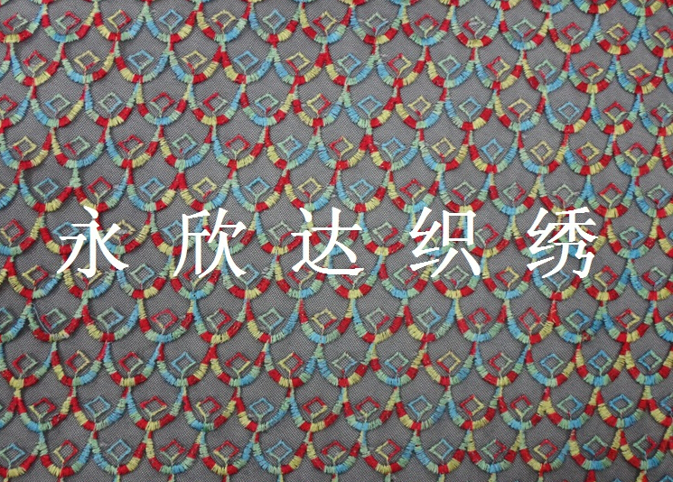 Characteristic Color line of high-end fashion apparel fabrics embroidered fabric black mesh Embroidery Cloth Fabric(China (Mainland))