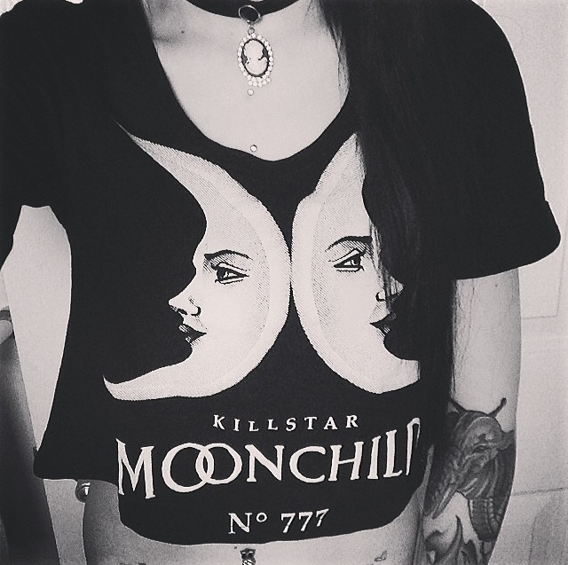 Punk Rock Dark Street Show Cartoon Moon Letter Print Simple Short Sleeve Women Black Gothic Shirt Summer Oversize Plus Size(China (Mainland))