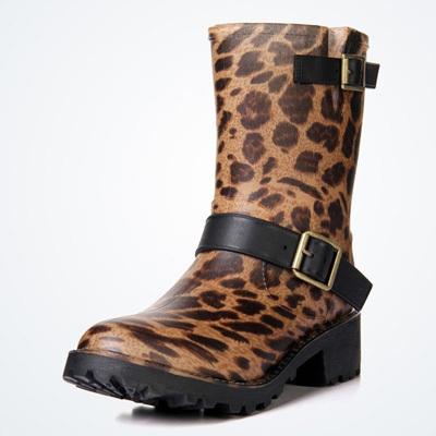 2015 Women Waterproof Rain Boots Leopard Rubber Rainboots Shoes botas de agua shoes Engineering boots, cowboy rubber boots()
